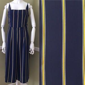Trixxi Striped Gaucho Jumpsuit Square Neckline